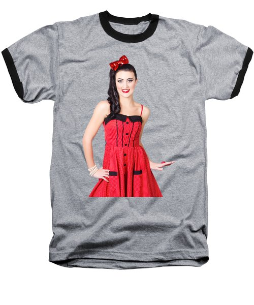 Baseball T-Shirt featuring the photograph Beautiful Pinup Girl With Pretty Smile by Jorgo Photography - Wall Art Gallery