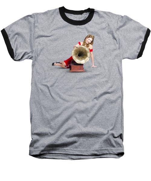 Beautiful Pinup Woman Listening To Old Gramophone Baseball T-Shirt