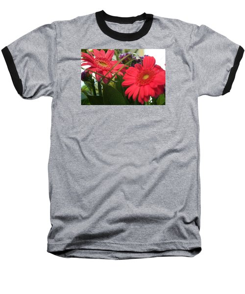 Baseball T-Shirt featuring the photograph Beautiful Red Daisies by Karen Nicholson