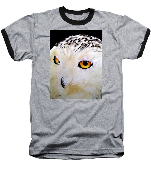 Beautiful Snowy Owl Baseball T-Shirt by Carol Grimes
