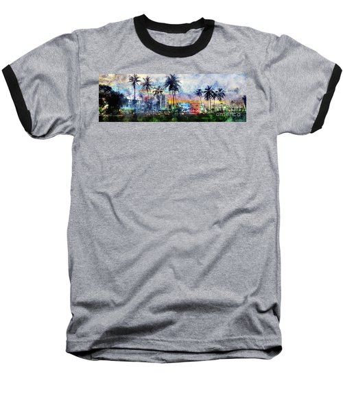 Beautiful South Beach Watercolor Baseball T-Shirt by Jon Neidert