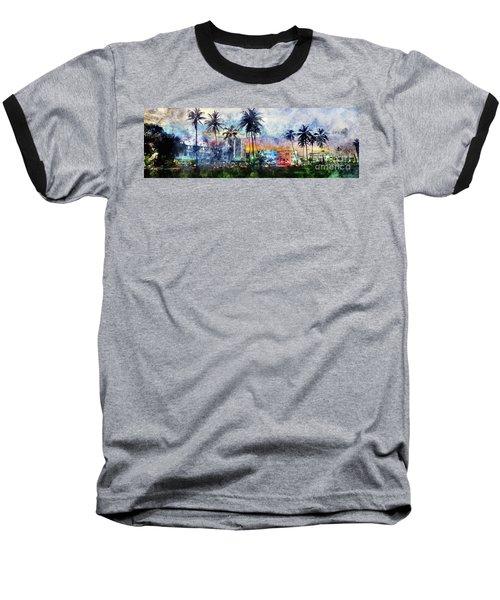 Beautiful South Beach Watercolor Baseball T-Shirt