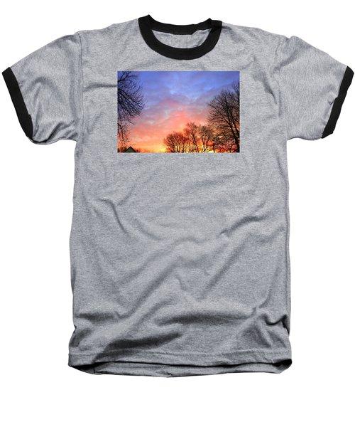 Beautiful Sunrise After Blizzard  Baseball T-Shirt by Yumi Johnson