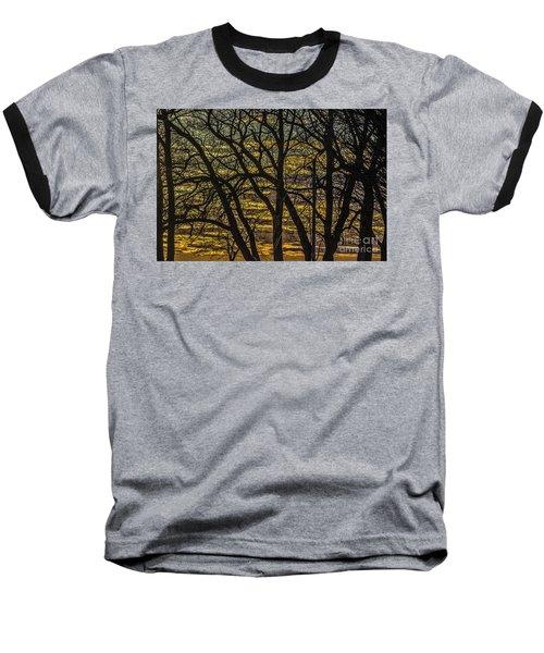 Beautiful Sunset Behind Bare Trees Baseball T-Shirt