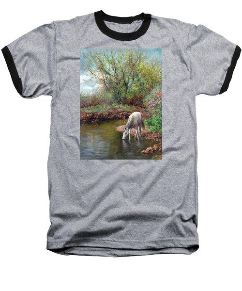 Beautiful White Horse And Enchanting Spring Baseball T-Shirt