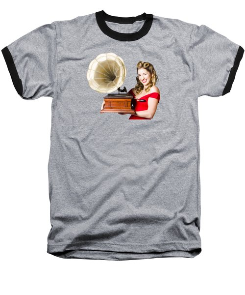 Beautiful Woman With Gramophone Isolated On White Baseball T-Shirt by Jorgo Photography - Wall Art Gallery