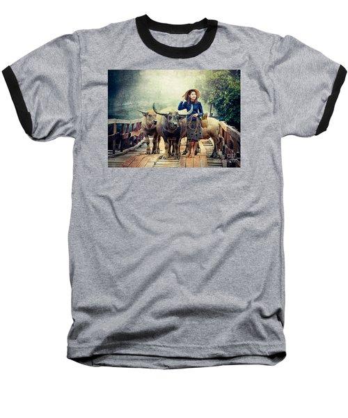 Beauty And The Water Buffalo Baseball T-Shirt by Ian Gledhill