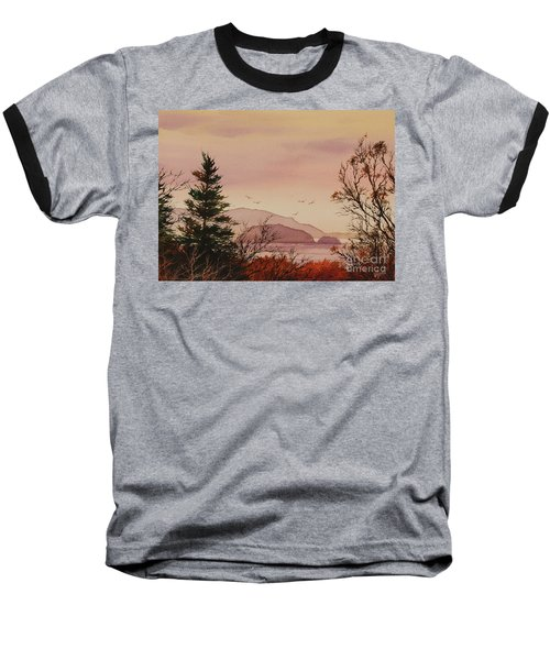 Baseball T-Shirt featuring the painting Beauty At The Shore by James Williamson