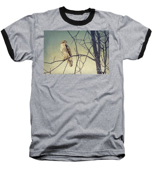 Red-tailed Hawk On Watch Baseball T-Shirt