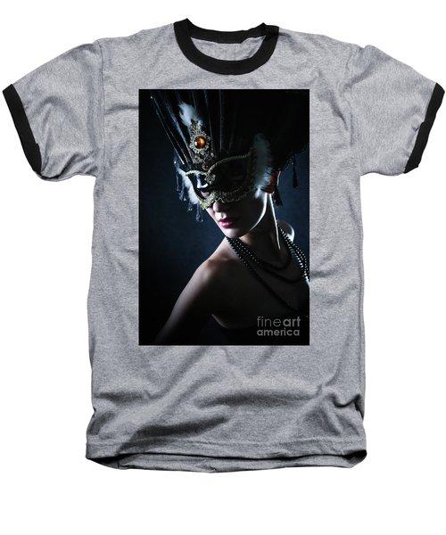 Baseball T-Shirt featuring the photograph Beauty Model Wearing Venetian Masquerade Carnival Mask by Dimitar Hristov