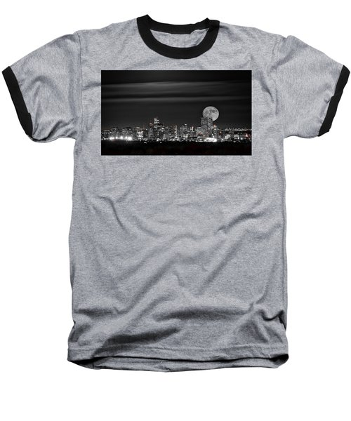 Baseball T-Shirt featuring the photograph Beaver Moonrise In B And W by Kristal Kraft