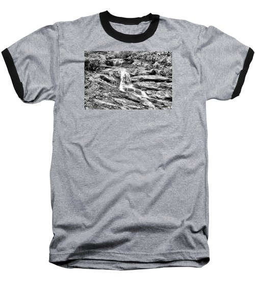 Becky Branch Falls In Black And White Baseball T-Shirt by James Potts