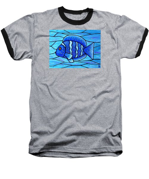 Baseball T-Shirt featuring the painting Beckys Blue Tropical Fish by Jim Harris