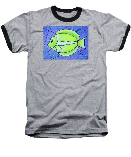 Baseball T-Shirt featuring the painting Beckys Yellow Tropical Fish by Jim Harris