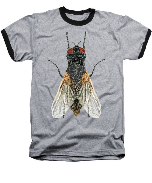 Bedazzled Housefly Transparent Background Baseball T-Shirt by R  Allen Swezey