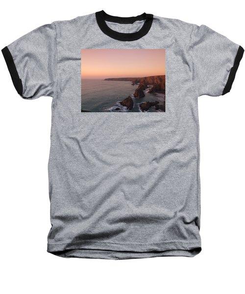 Bedruthan Steps Sunset Baseball T-Shirt