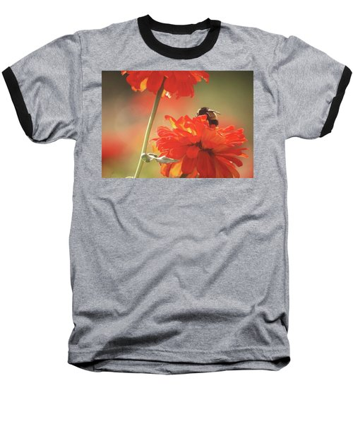 Baseball T-Shirt featuring the photograph Bee And Flower II by Donna G Smith
