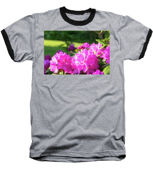 Bee Flying Over Catawba Rhododendron Baseball T-Shirt