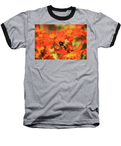 Baseball T-Shirt featuring the photograph Bee On Flower by Donna G Smith