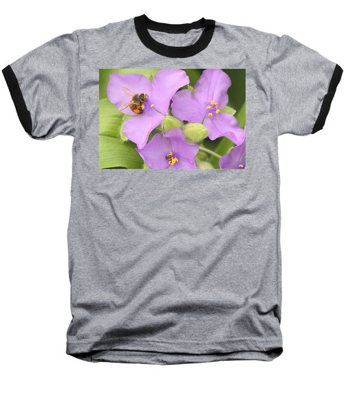 Baseball T-Shirt featuring the photograph Bee On Purple Spiderwort by Sheila Brown