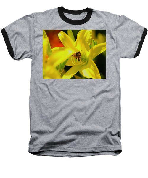 Bee On Yellow Lilly Baseball T-Shirt