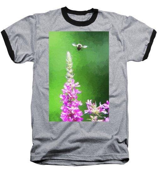 Bee Over Flowers Baseball T-Shirt