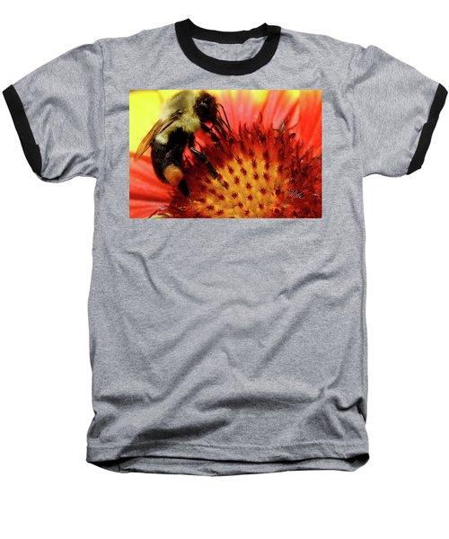 Baseball T-Shirt featuring the photograph Bee Red Flower by Meta Gatschenberger
