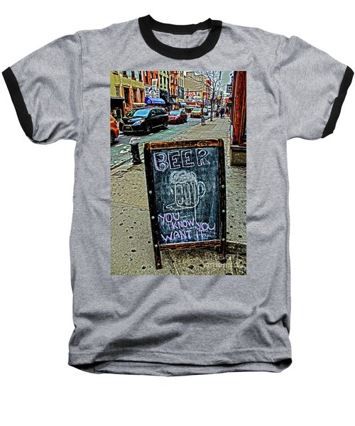 Baseball T-Shirt featuring the photograph Beer Sign by Sandy Moulder