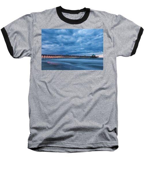 Before Sunrise At Folly Beach Pier, South Carolina Baseball T-Shirt