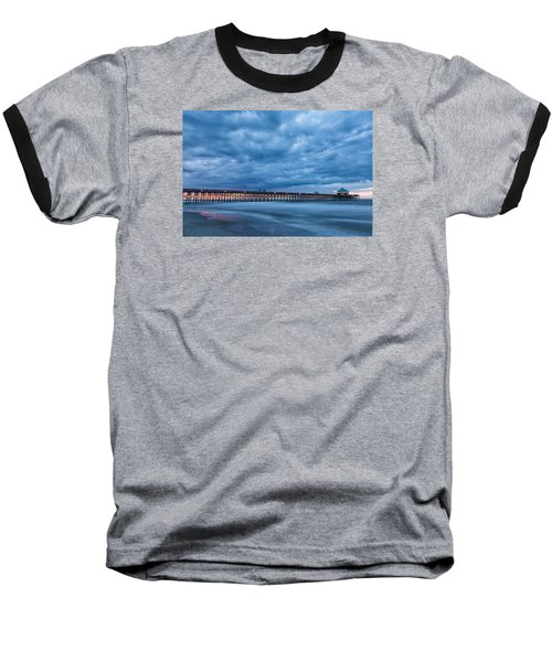 Before Sunrise At Folly Beach Pier, South Carolina Baseball T-Shirt
