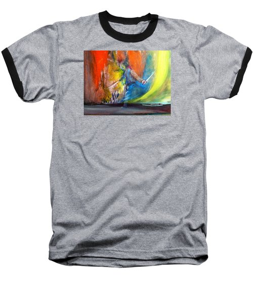 Baseball T-Shirt featuring the painting Before The Duel by Kicking Bear  Productions
