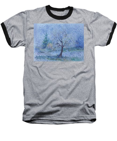 Baseball T-Shirt featuring the painting Begining Of Another Winter by Anna  Duyunova