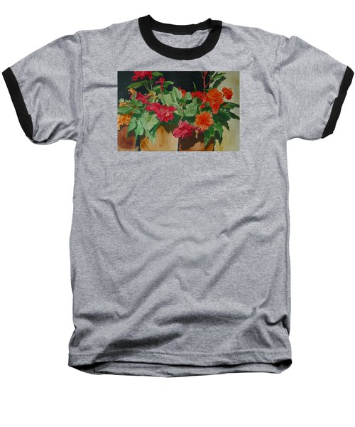 Begonias Flowers Colorful Original Painting Baseball T-Shirt