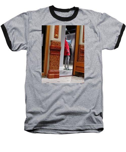Behind Doors Baseball T-Shirt by Anna Yurasovsky