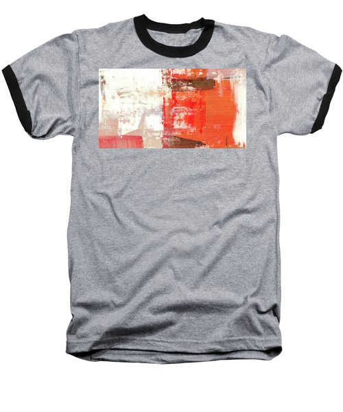 Behind The Corner - Warm Linear Abstract Painting Baseball T-Shirt by Modern Art Prints