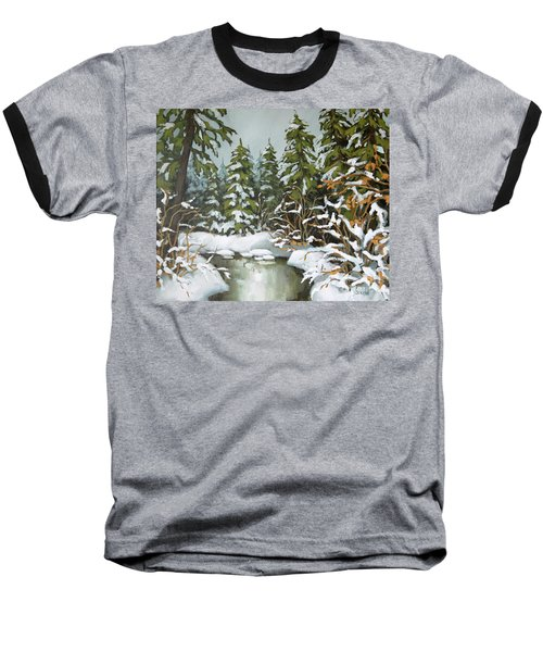 Baseball T-Shirt featuring the painting Behind The River Bend by Inese Poga