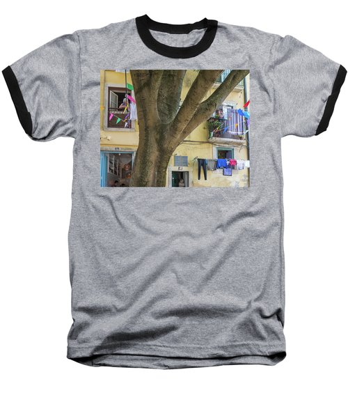 Behind The Tree Baseball T-Shirt by Patricia Schaefer