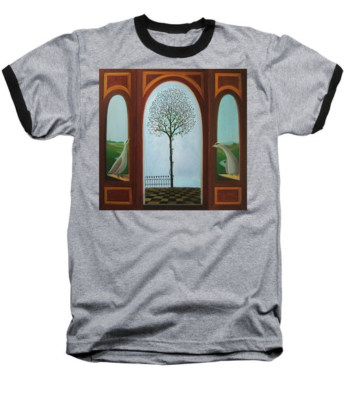 Baseball T-Shirt featuring the painting Belgian Triptyck by Tone Aanderaa