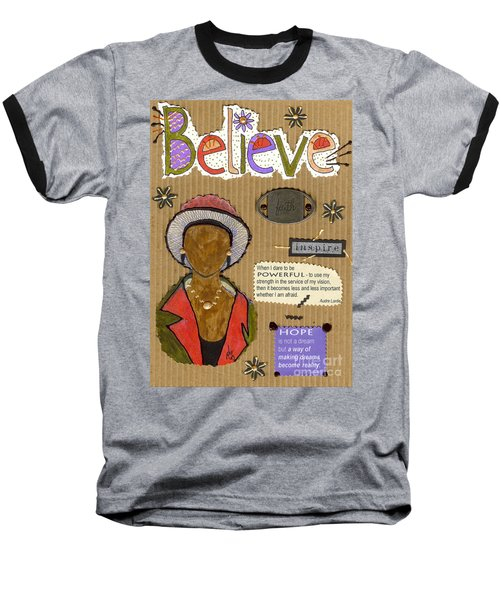 Baseball T-Shirt featuring the mixed media Believe Me by Angela L Walker