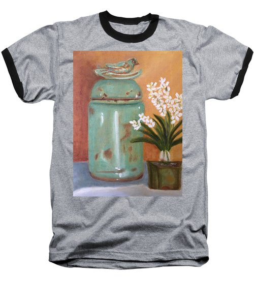 Baseball T-Shirt featuring the painting Bell Jar by Sharon Schultz