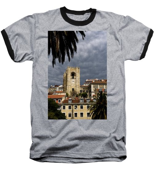 Bell Tower Against Roiling Sky Baseball T-Shirt
