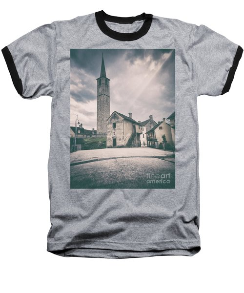 Baseball T-Shirt featuring the photograph Bell Tower In Italian Village by Silvia Ganora