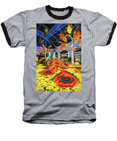 Bellagio Conservatory Fall Peacock Display Side View  Baseball T-Shirt