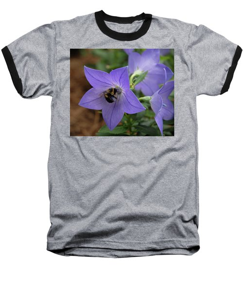 Baseball T-Shirt featuring the photograph Bellflower And Bee  by Marie Hicks