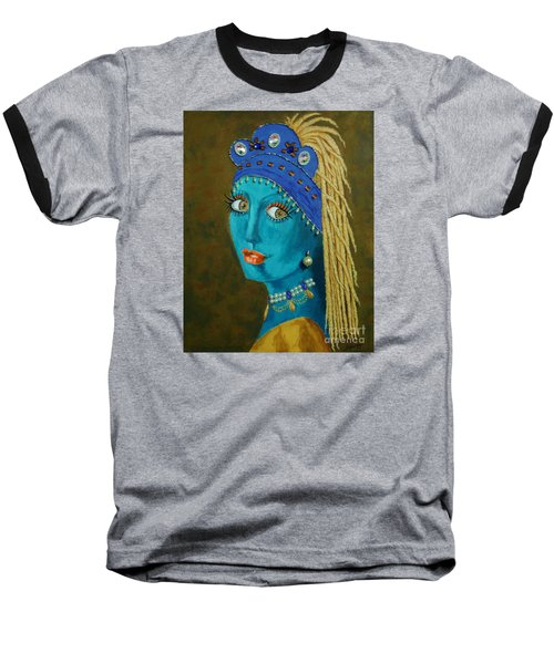 Belly Dancer With A Pearl Earring -- The Original -- Whimsical Redo Of Vermeer Painting Baseball T-Shirt