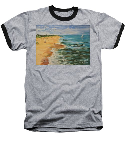 Beloved Beach - Sold Baseball T-Shirt by Judith Espinoza