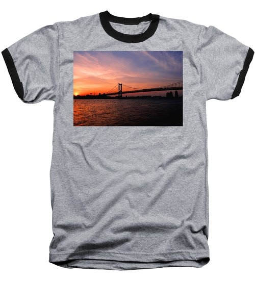 Ben Franklin Bridge Sunset Baseball T-Shirt