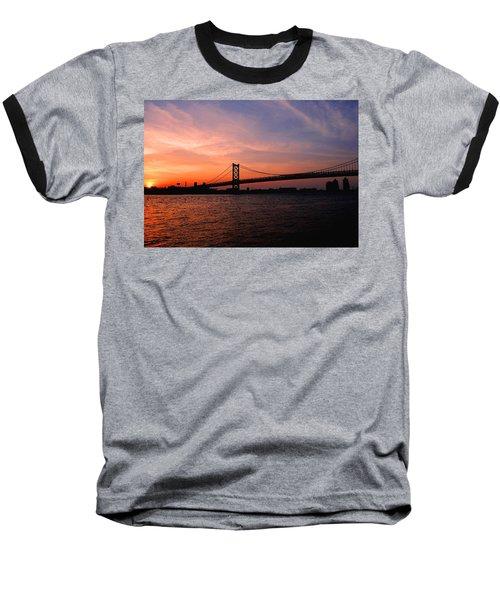 Ben Franklin Bridge Sunset Baseball T-Shirt