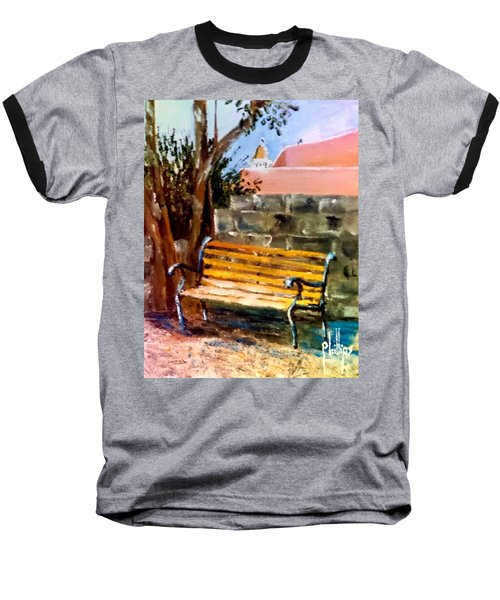 Baseball T-Shirt featuring the painting Bench At Waterfront Park by Jim Phillips