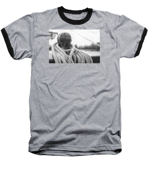 Baseball T-Shirt featuring the photograph Beneath The Sail Coiled Rope by Bob Decker